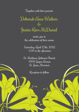 Green Honeysuckle Charcoal Wedding Shower Invites
