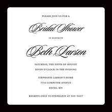 Traditional Black Border White Square Invitations