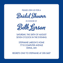 Blue Border White Square Invitation