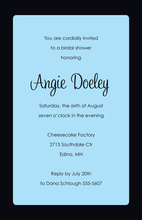 Formal Black Border Sky Blue Party Invitations