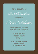 Formal Brown Border Teal Invitation