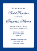 Formal Blue Border White Blue Business Invitations