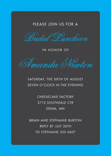 Bright Blue Border Stylish Charcoal Party Invitations