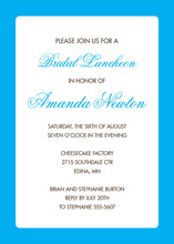 Bright Blue Border White Invitation
