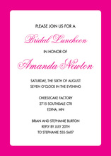 Pink Border White Invitations
