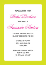 Lime Border White Invitations