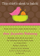 Vibrant Lovely Pink Bird Invitation