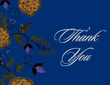 Vintage Floral Blue Thank You Cards