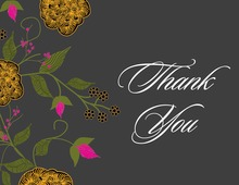 Vintage Floral Charcoal Thank You Cards