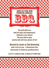 Unique Red Plaid BBQ Party Invitations