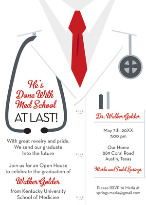 White Coat Male Navy Tie Doctor Invitations