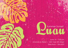 Beautiful Luau Palms Pink Invitations