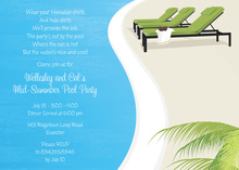 Three Green Lounge Pool Party Invitations