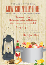Wooden Low Country Boil Party Invitations