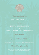 Scallop Icon In Palm Trees Invitation