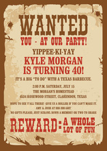 Wanted Poster Western Party Invitations
