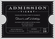 Unique Black Admission Ticket Invitation
