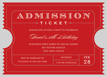 Red Admission Ticket Party Invitation