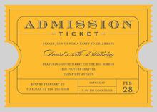 Yellow-Gold Admission Ticket Invitations