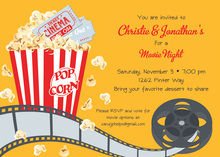Ticket Cinema Movie Popcorn Invitations
