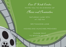 Stylish Film Reel Green Invitation