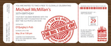 Big Three Boarding Pass Slim Invitations
