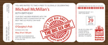 Big Six Boarding Pass Slim Invitations