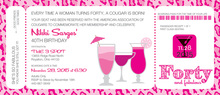 Pink Leopard 40 Birthday Invitations