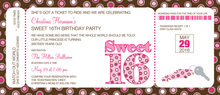 Sweet 16 Boarding Pass Slim Invitations