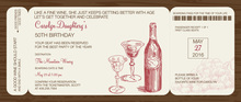 Wine Boarding Pass Slim Invitations