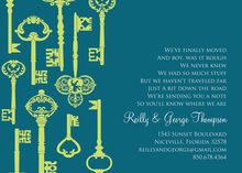 Success Key Pattern Teal Invitations