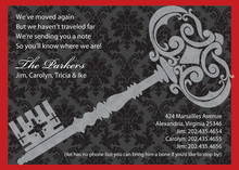 Traditional Damask Key Black Invitations