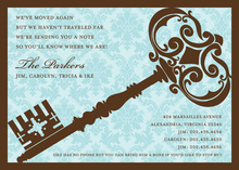 Traditional Damask Key Blue Invitations