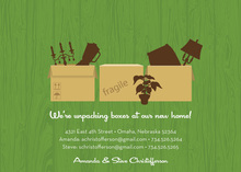 Boxes Everywhere Green Invitations