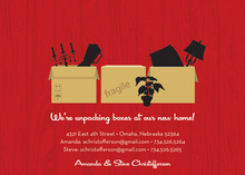 Boxes To Go Red Announcement Invitations