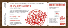 Big Seven Boarding Pass Slim Invitations
