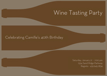 Three Brown Wine Bottle Invitations