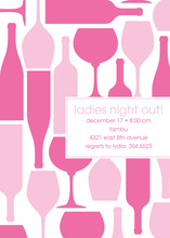 Wine Silhouttes Pink Invitations