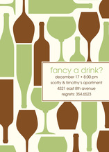 Wine Silhouttes Green-Brown Invitations