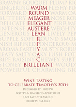 Wine Words Wording Pink Invitations