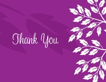 Breeze Leaves Purple Thank You Cards