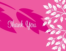 Breeze Leaves Pink Thank You Cards