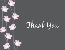 Floral String Charcoal Thank You Cards