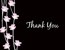 Floral String Black Thank You Cards