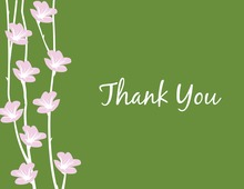 Floral String Green Thank You Cards