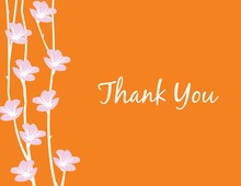 Floral String Orange Thank You Cards
