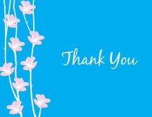 Floral String Blue Thank You Cards