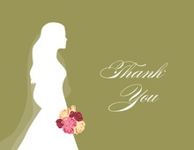 Walking Bride Green Thank You Cards