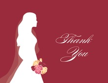 Walking Bride Red Thank You Cards