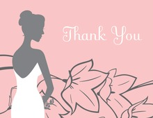 Bride on Flowers Pink Thank You Cards